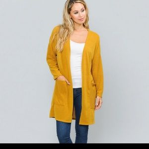 Hacci Open Cardigan With Pockets Mustard Color